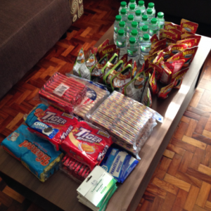 Relief goods from Andon Asia: Ready-to-eat packs of sardines, crackers, bottles of water and medicine